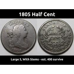 1805 Half Cent - Large 5...
