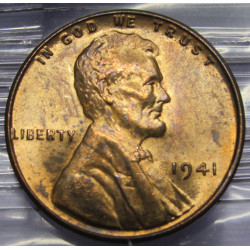1941 toned Lincoln Cent -...