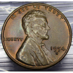 Toned 1954 S Lincoln Cent -...