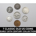 7 Classic old US coins collection - early 20th century coins w/ silver dimes, old nickels, pennies