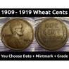 Lincoln Wheat Pennies - 1909 to 1919 PDS - choose date / mintmark / grade