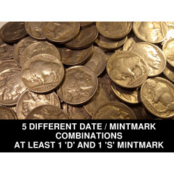 5 FULL DATE Buffalo Nickels...