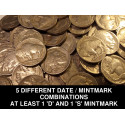 5 FULL DATE Buffalo Nickels - 5 different date / mintmark + guaranteed 'D' + 'S'