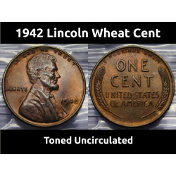 1942 toned Lincoln Cent -...